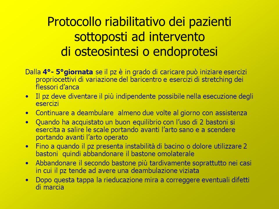 Protocollo riabilitativo dei pazienti sottoposti ad intervento di osteosintesi o endoprotesi Dalla 4°- 5°giornata se il pz è in grado di caricare può