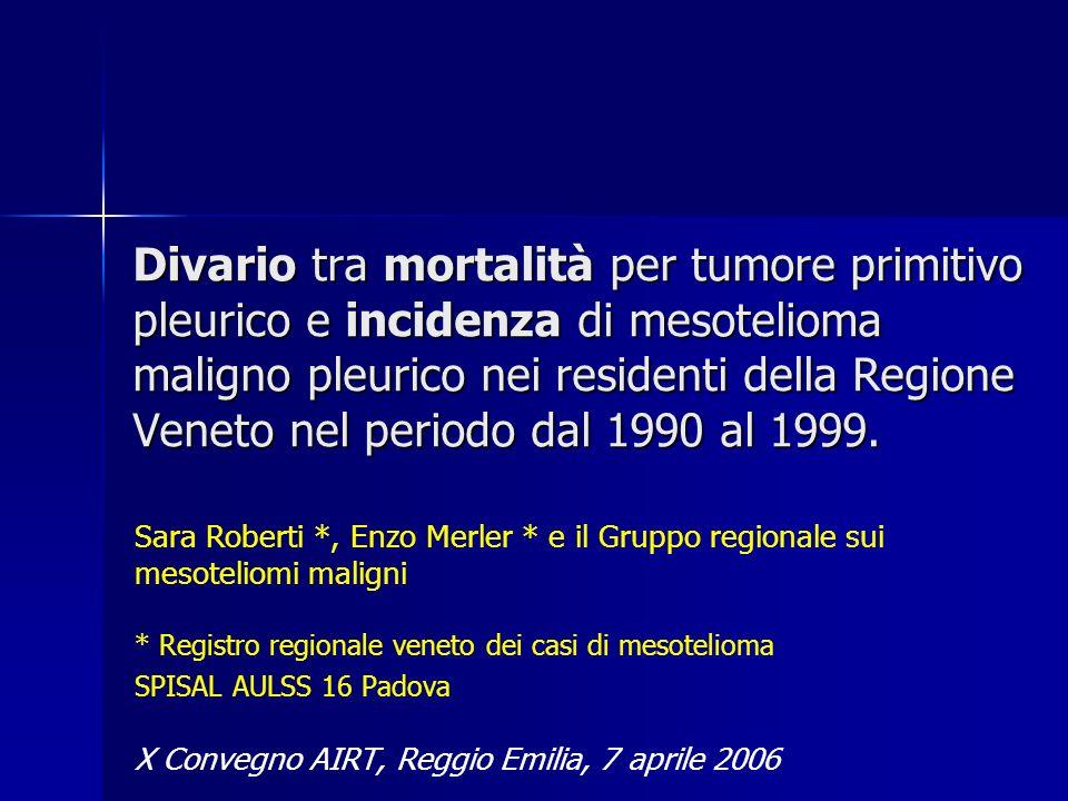 Divario tra mortalità per tumore primitivo pleurico e incidenza di mesotelioma maligno pleurico nei residenti della Regione Veneto nel periodo dal 199