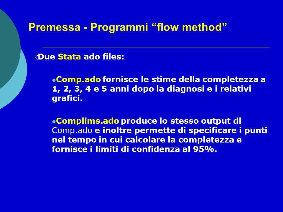 Premessa - Programmi flow method Due Stata ado files: Comp.ado fornisce le stime della completezza a 1, 2, 3, 4 e 5 anni dopo la diagnosi e i relativi grafici.