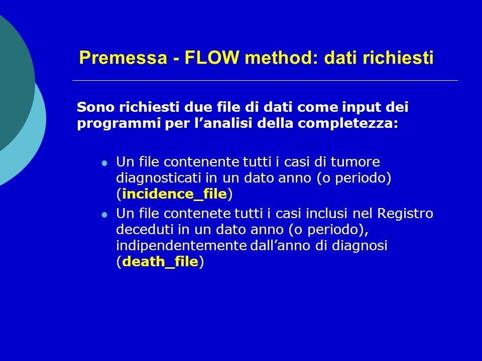 Premessa - FLOW method: dati richiesti Sono richiesti due file di dati come input dei programmi per lanalisi della completezza: Un file contenente tutti i casi di tumore diagnosticati in un dato anno (o periodo) (incidence_file) Un file contenete tutti i casi inclusi nel Registro deceduti in un dato anno (o periodo), indipendentemente dallanno di diagnosi (death_file)
