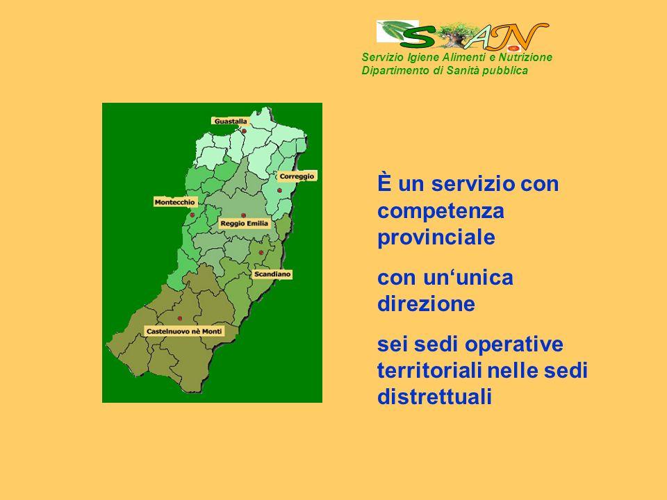Servizio Igiene Alimenti e Nutrizione Dipartimento di Sanità pubblica È un servizio con competenza provinciale con ununica direzione sei sedi operative territoriali nelle sedi distrettuali