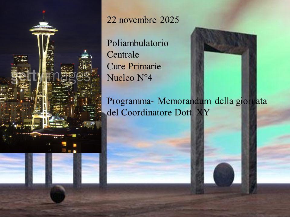 22 novembre 2025 Poliambulatorio Centrale Cure Primarie Nucleo N°4 Programma- Memorandum della giornata del Coordinatore Dott.