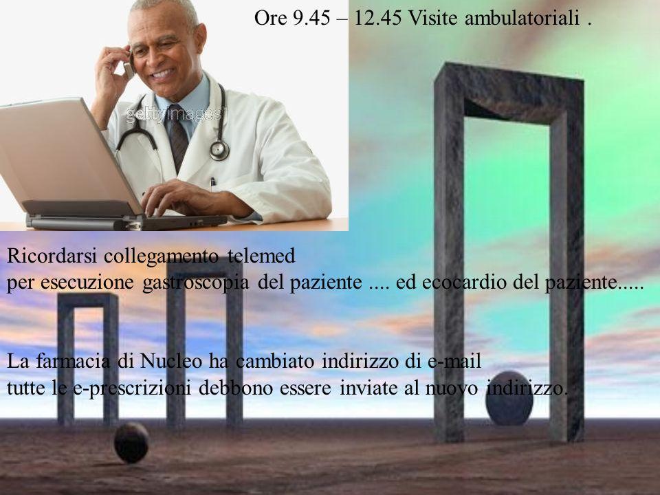 Ore 9.45 – 12.45 Visite ambulatoriali.