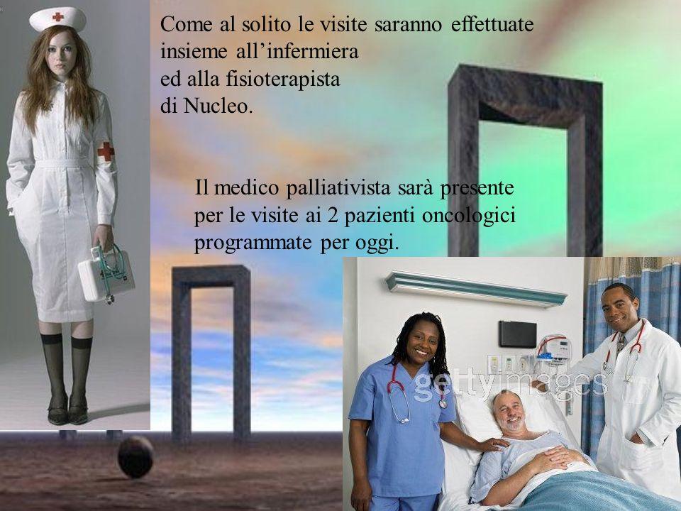 Come al solito le visite saranno effettuate insieme allinfermiera ed alla fisioterapista di Nucleo.