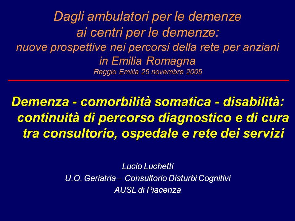 Dagli ambulatori per le demenze ai centri per le demenze: nuove prospettive nei percorsi della rete per anziani in Emilia Romagna Reggio Emilia 25 nov