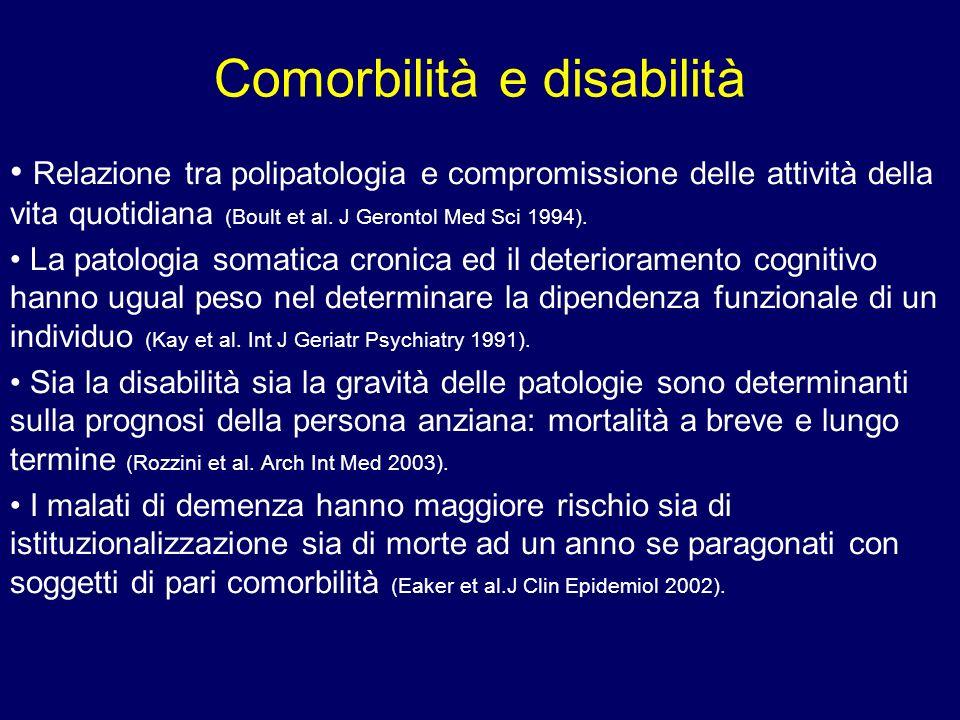 Comorbilità e disabilità Relazione tra polipatologia e compromissione delle attività della vita quotidiana (Boult et al. J Gerontol Med Sci 1994). La