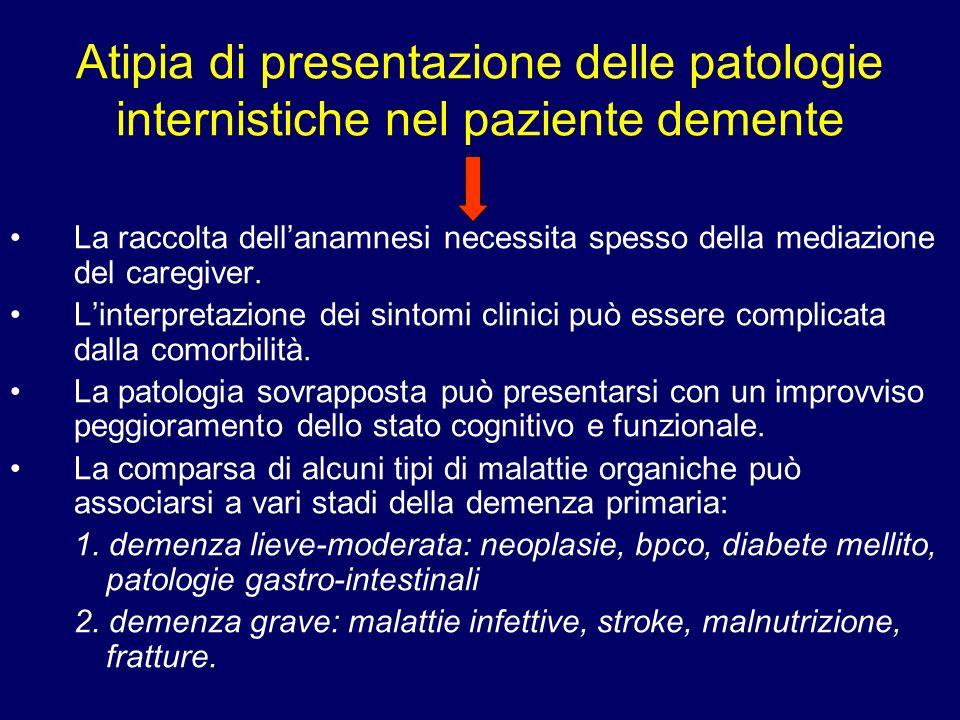 Atipia di presentazione delle patologie internistiche nel paziente demente La raccolta dellanamnesi necessita spesso della mediazione del caregiver. L