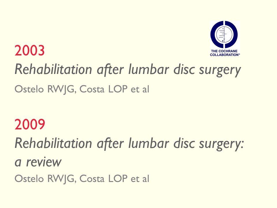 2003 Rehabilitation after lumbar disc surgery Ostelo RWJG, Costa LOP et al 2009 Rehabilitation after lumbar disc surgery: a review Ostelo RWJG, Costa