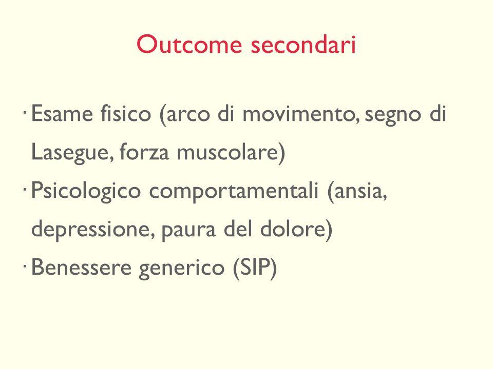 Outcome secondari Esame fisico (arco di movimento, segno di Lasegue, forza muscolare) Psicologico comportamentali (ansia, depressione, paura del dolor