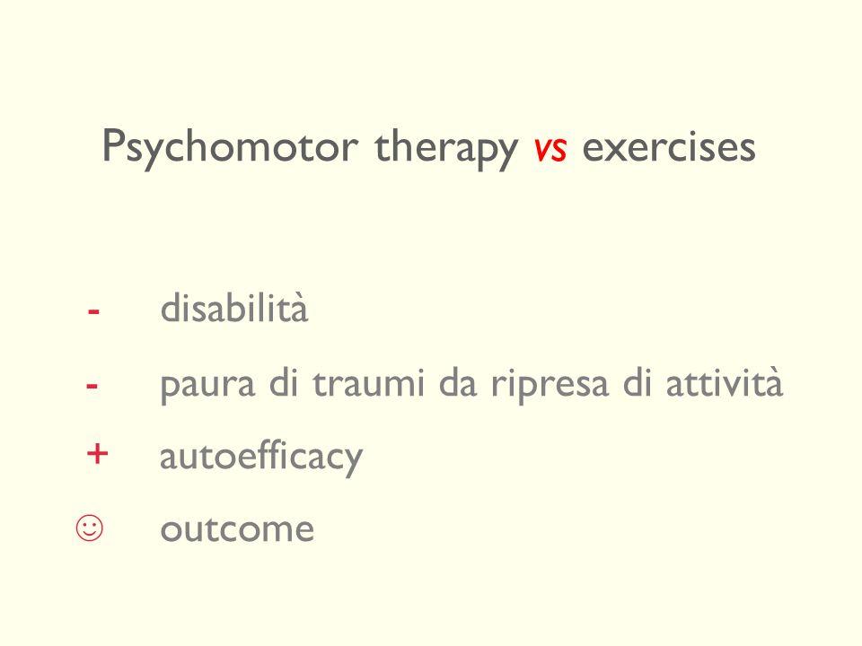 Psychomotor therapy vs exercises - disabilità - paura di traumi da ripresa di attività +autoefficacy outcome