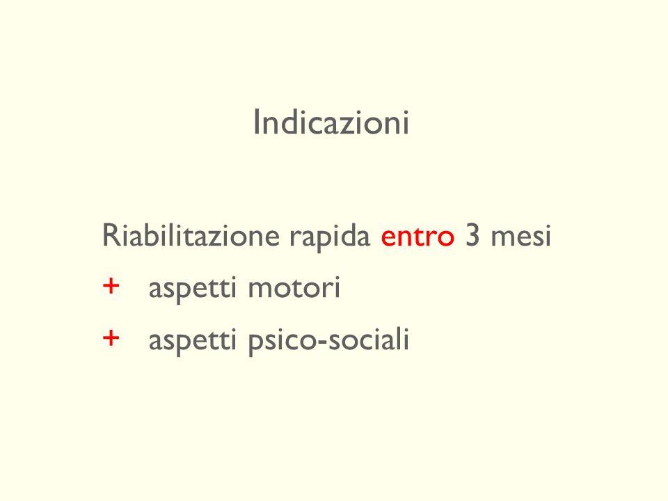 Indicazioni Riabilitazione rapida entro 3 mesi + aspetti motori + aspetti psico-sociali