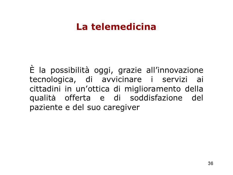 36 È la possibilità oggi, grazie allinnovazione tecnologica, di avvicinare i servizi ai cittadini in unottica di miglioramento della qualit à offerta e di soddisfazione del paziente e del suo caregiver La telemedicina