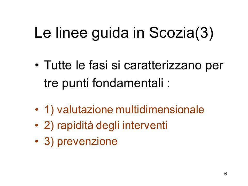 6 Le linee guida in Scozia(3) Tutte le fasi si caratterizzano per tre punti fondamentali : 1) valutazione multidimensionale 2) rapidità degli interventi 3) prevenzione