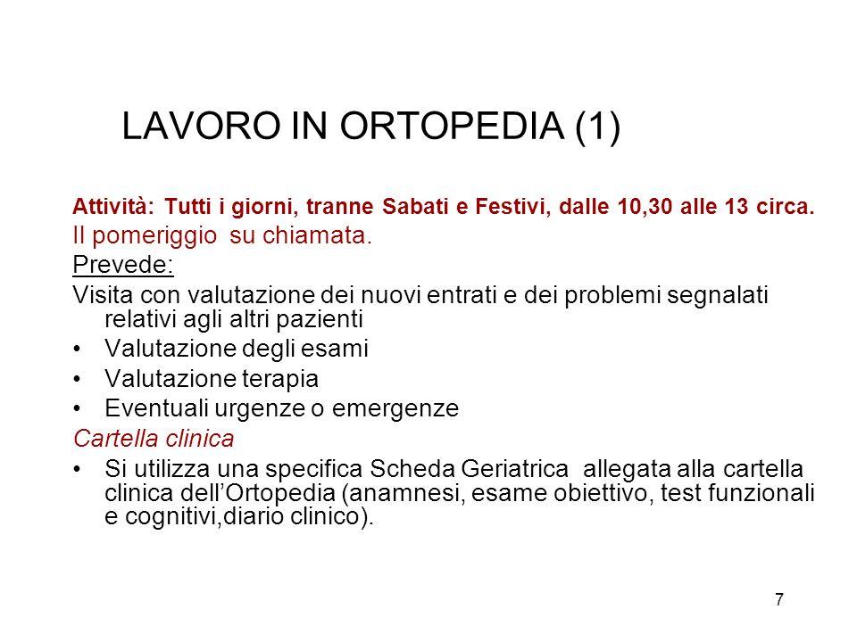 28 Interventi in elezione UO ortogeriatria 2001/042005/06 Coxartrosi80,95 %83,3 % Gonartrosi9,52 %16,7 % Artrosi Spalla0% Colonna4,76 %0 % Altro4,76 %0 % Totale100 %