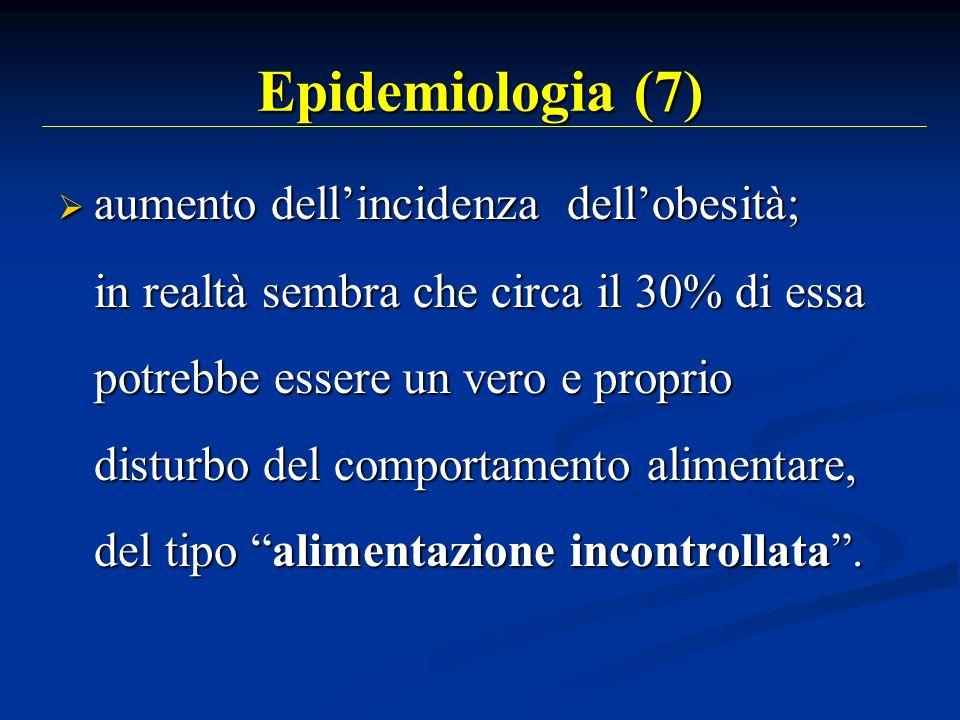 Epidemiologia (7) aumento dellincidenza dellobesità; aumento dellincidenza dellobesità; in realtà sembra che circa il 30% di essa potrebbe essere un v