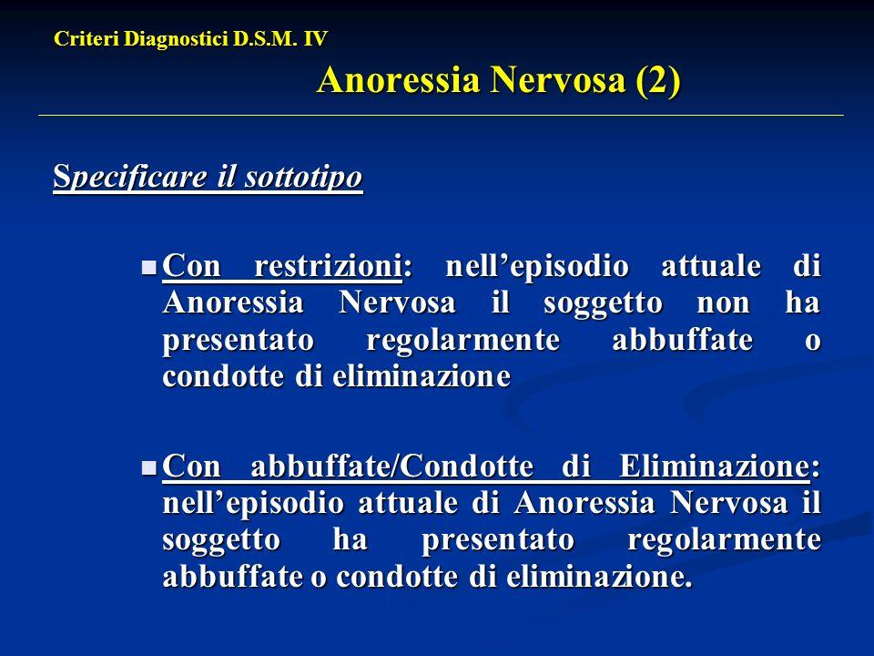 Criteri Diagnostici D.S.M. IV Anoressia Nervosa (2) Specificare il sottotipo Con restrizioni: nellepisodio attuale di Anoressia Nervosa il soggetto no