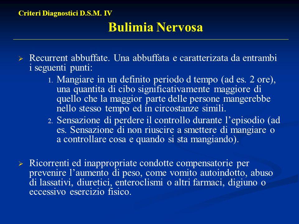 Criteri Diagnostici D.S.M. IV Criteri Diagnostici D.S.M. IV Bulimia Nervosa Recurrent abbuffate. Una abbuffata e caratterizata da entrambi i seguenti