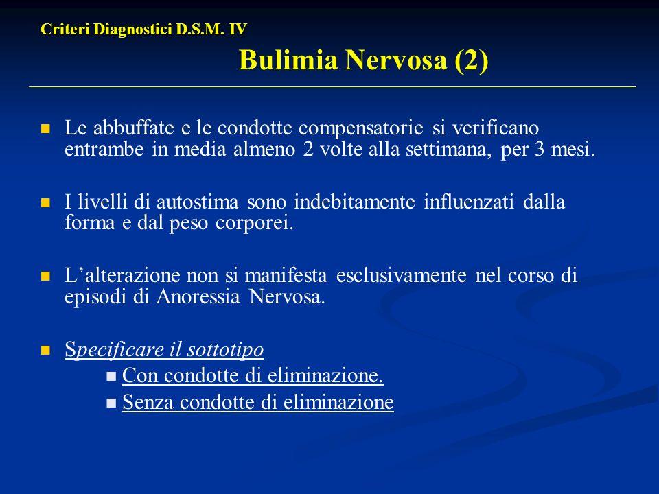 Criteri Diagnostici D.S.M. IV Criteri Diagnostici D.S.M. IV Bulimia Nervosa (2) Le abbuffate e le condotte compensatorie si verificano entrambe in med
