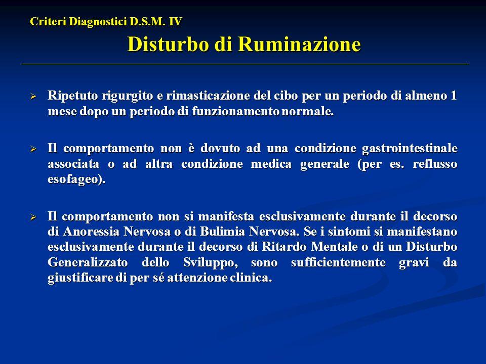 Criteri Diagnostici D.S.M. IV Disturbo di Ruminazione Ripetuto rigurgito e rimasticazione del cibo per un periodo di almeno 1 mese dopo un periodo di