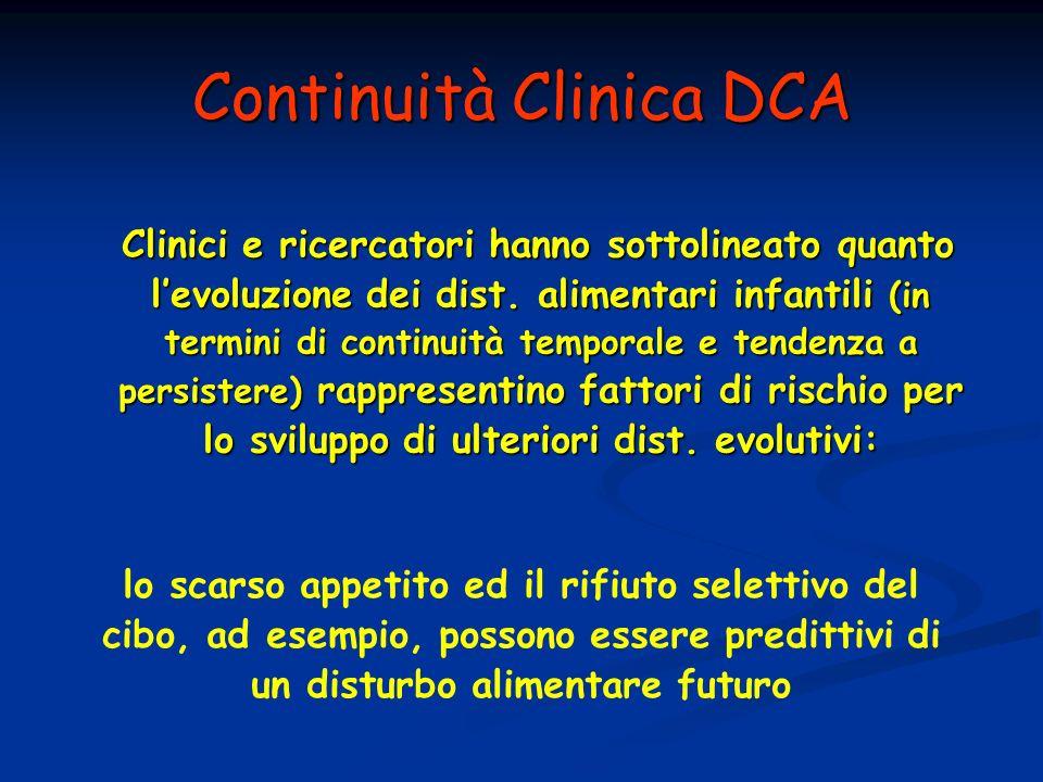 Continuità Clinica DCA Clinici e ricercatori hanno sottolineato quanto levoluzione dei dist. alimentari infantili (in termini di continuità temporale