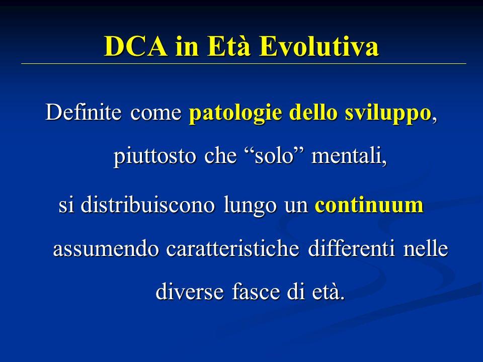 DCA in Età Evolutiva Definite come patologie dello sviluppo, piuttosto che solo mentali, si distribuiscono lungo un continuum assumendo caratteristich