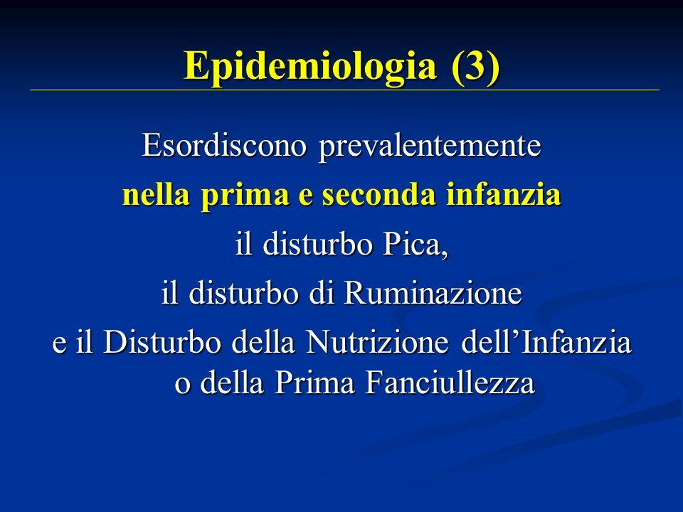 Epidemiologia (4) Esordiscono prevalentemente in età adolescenziale lAnoressia Nervosa (AN), la Bulimia Nervosa (BN) la Bulimia Nervosa (BN) e i Disturbi dellAlimentazione Non Altrimenti Specificati
