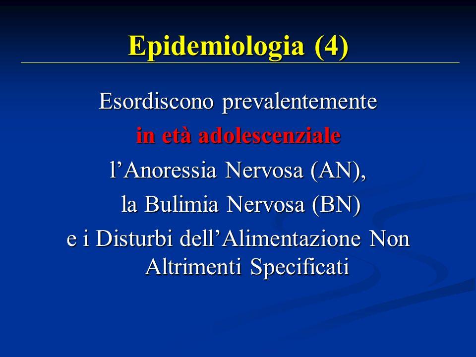 Epidemiologia (4) Esordiscono prevalentemente in età adolescenziale lAnoressia Nervosa (AN), la Bulimia Nervosa (BN) la Bulimia Nervosa (BN) e i Distu