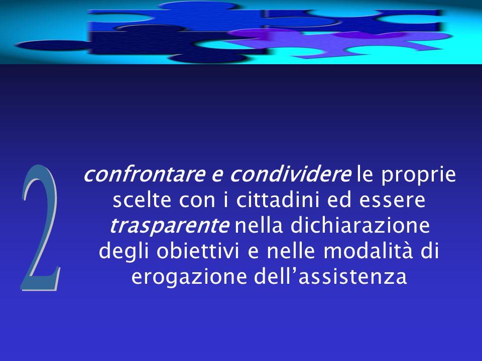 confrontare e condividere le proprie scelte con i cittadini ed essere trasparente nella dichiarazione degli obiettivi e nelle modalità di erogazione d
