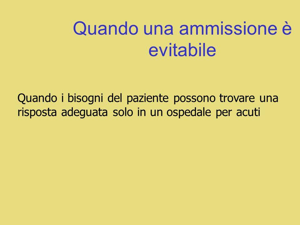 Quando una ammissione è evitabile Quando i bisogni del paziente possono trovare una risposta adeguata solo in un ospedale per acuti