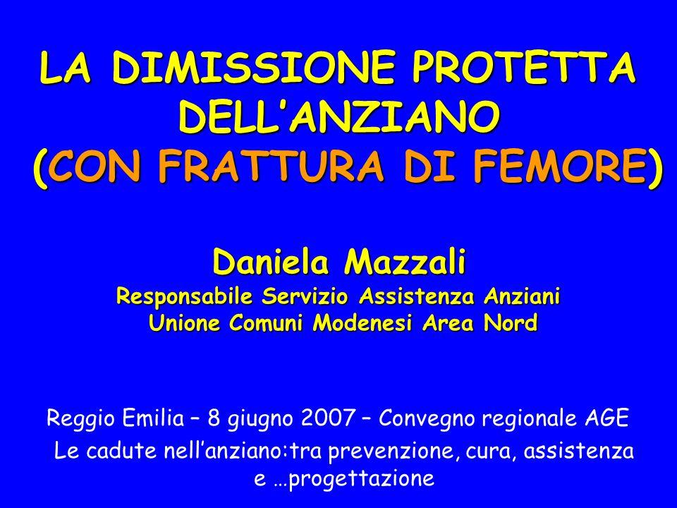 LA DIMISSIONE PROTETTA DELLANZIANO (CON FRATTURA DI FEMORE) Daniela Mazzali Responsabile Servizio Assistenza Anziani Unione Comuni Modenesi Area Nord