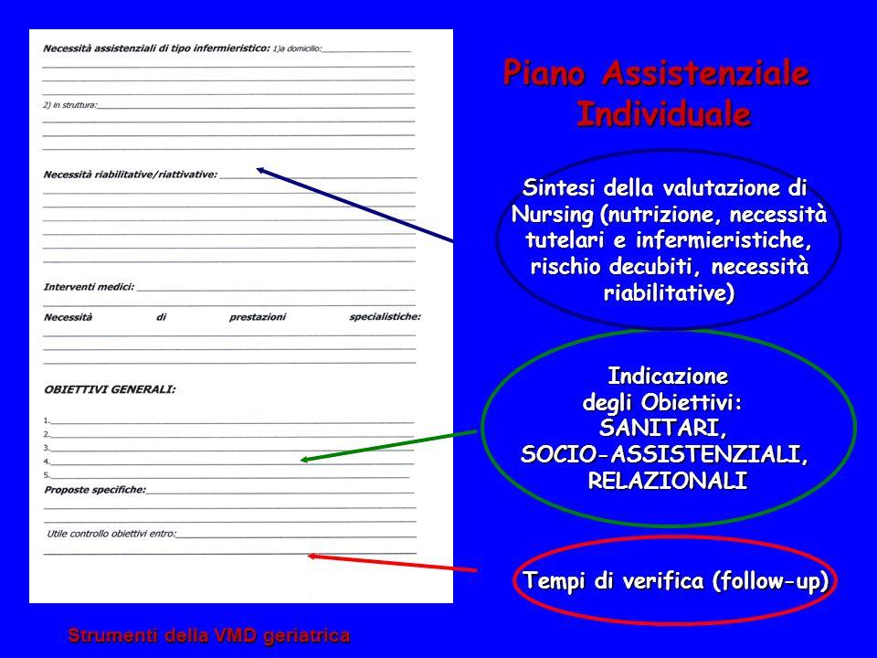 Strumenti della VMD geriatrica Piano Assistenziale Individuale Individuale Indicazione degli Obiettivi: SANITARI,SOCIO-ASSISTENZIALI,RELAZIONALI Sinte