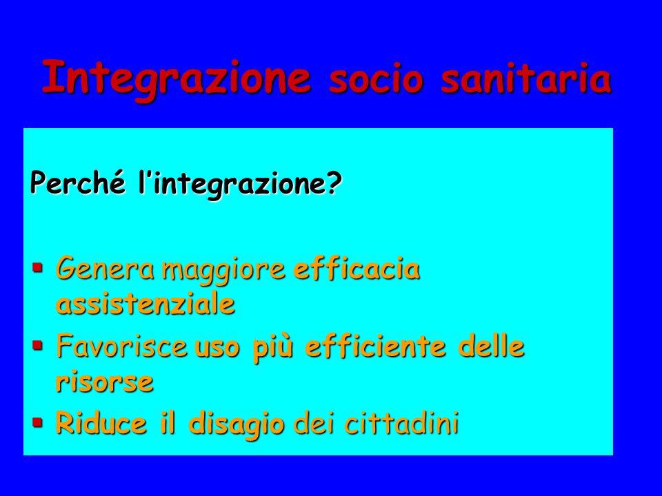 Integrazione socio sanitaria Perché lintegrazione? Genera maggiore efficacia assistenziale Genera maggiore efficacia assistenziale Favorisce uso più e