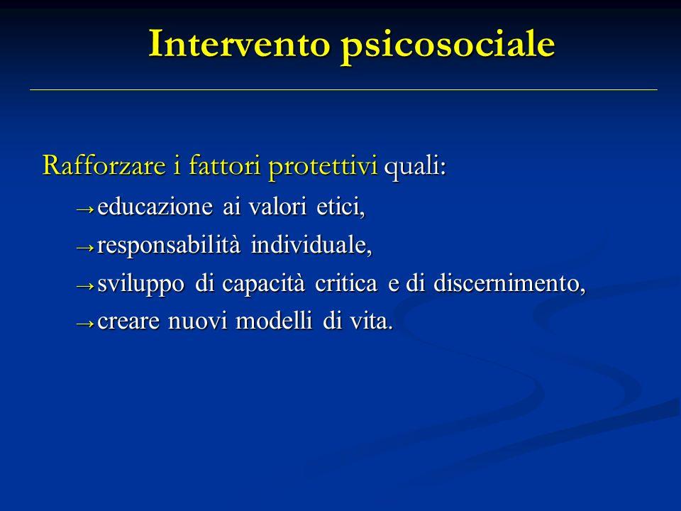 Intervento psicosociale Rafforzare i fattori protettivi quali: educazione ai valori etici, educazione ai valori etici, responsabilità individuale, res