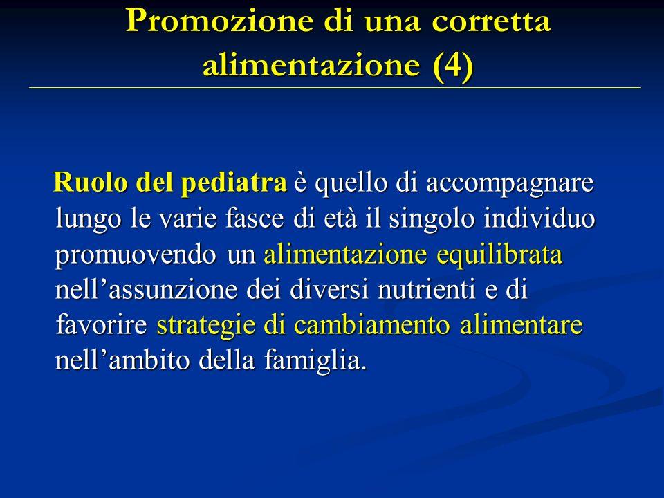 Promozione di una corretta alimentazione (4) Ruolo del pediatra è quello di accompagnare lungo le varie fasce di età il singolo individuo promuovendo