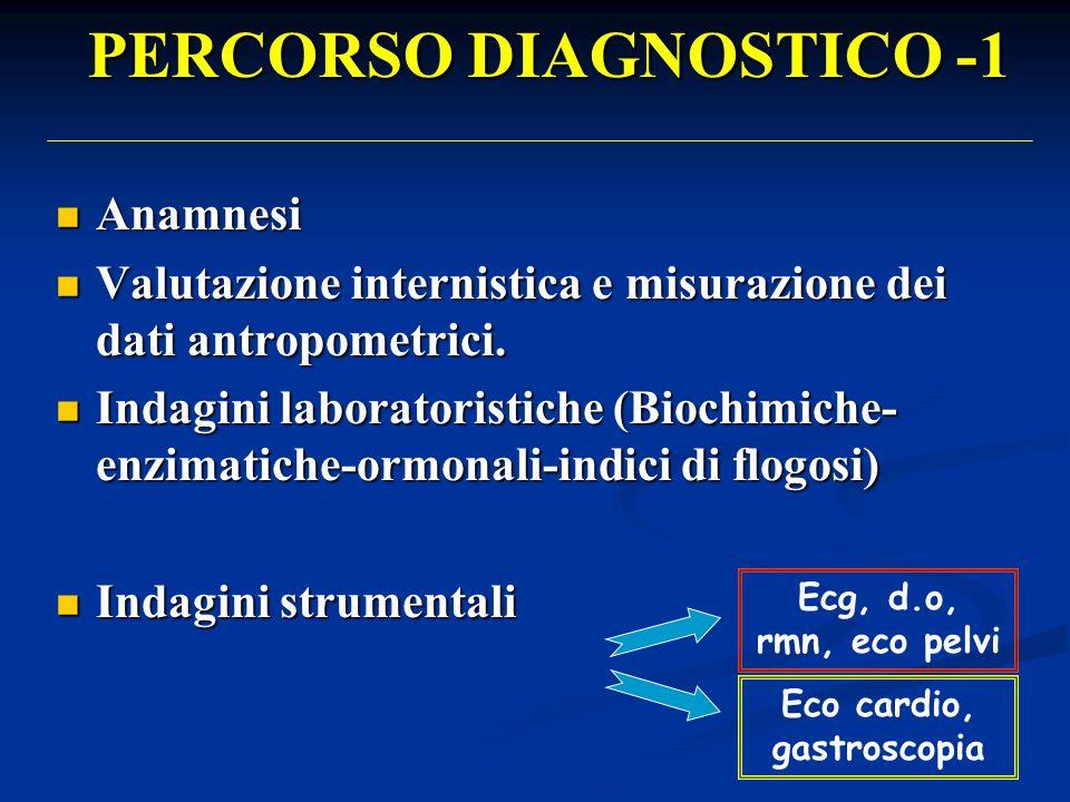 PERCORSO DIAGNOSTICO -1 Anamnesi Anamnesi Valutazione internistica e misurazione dei dati antropometrici.