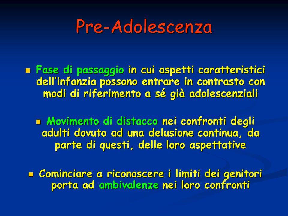 Pre-Adolescenza Fase di passaggio in cui aspetti caratteristici dellinfanzia possono entrare in contrasto con modi di riferimento a sé già adolescenzi