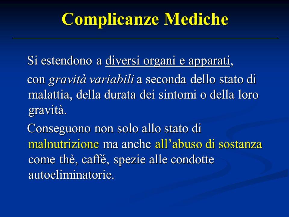 Complicanze Mediche Si estendono a diversi organi e apparati, Si estendono a diversi organi e apparati, con gravità variabili a seconda dello stato di malattia, della durata dei sintomi o della loro gravità.