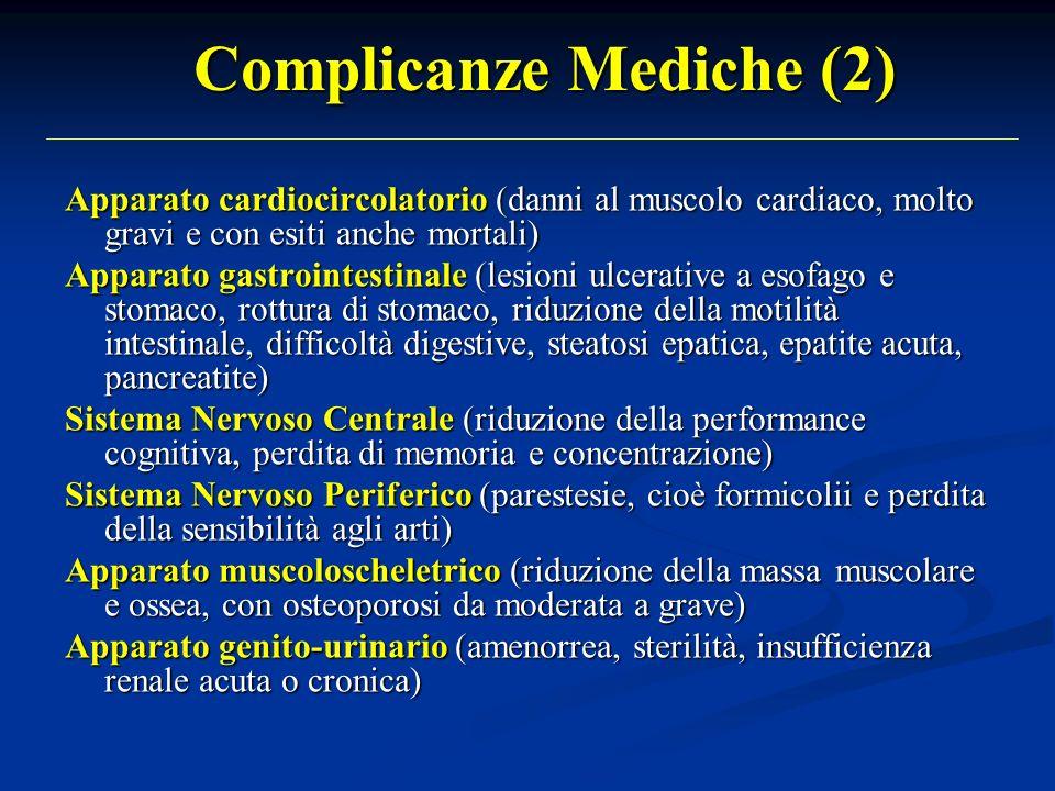 Complicanze Mediche (2) Apparato cardiocircolatorio (danni al muscolo cardiaco, molto gravi e con esiti anche mortali) Apparato gastrointestinale (les