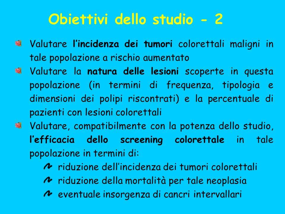 Obiettivi dello studio - 2 Valutare lincidenza dei tumori colorettali maligni in tale popolazione a rischio aumentato Valutare la natura delle lesioni