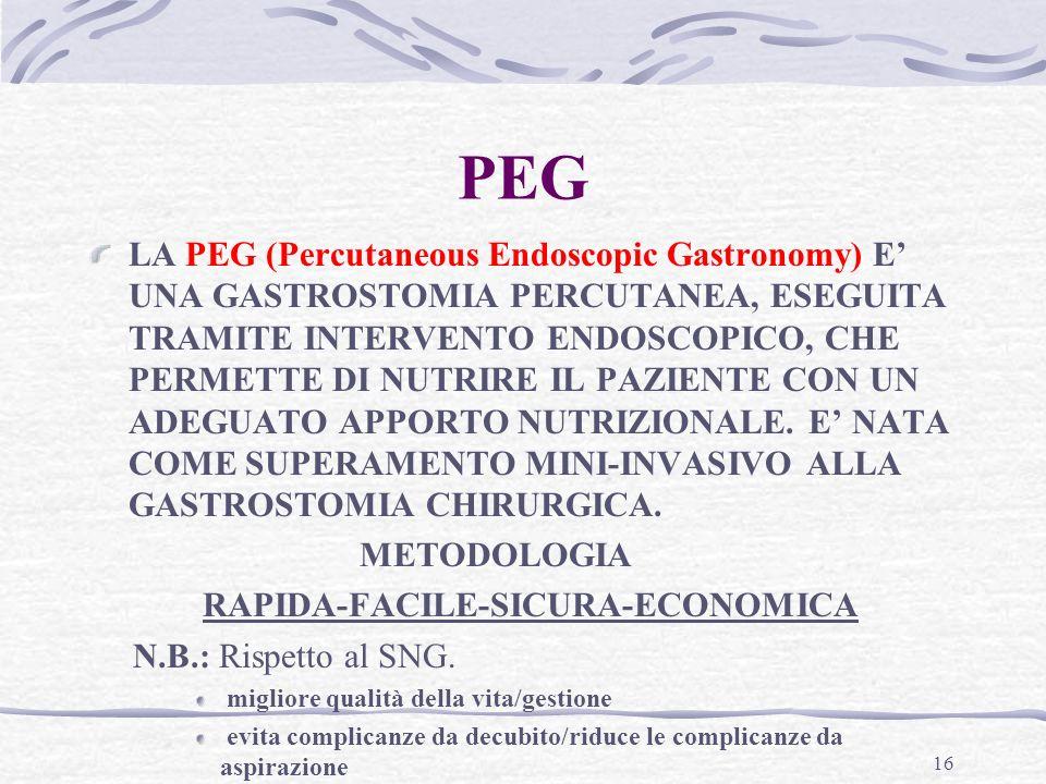 16 PEG LA PEG (Percutaneous Endoscopic Gastronomy) E UNA GASTROSTOMIA PERCUTANEA, ESEGUITA TRAMITE INTERVENTO ENDOSCOPICO, CHE PERMETTE DI NUTRIRE IL PAZIENTE CON UN ADEGUATO APPORTO NUTRIZIONALE.