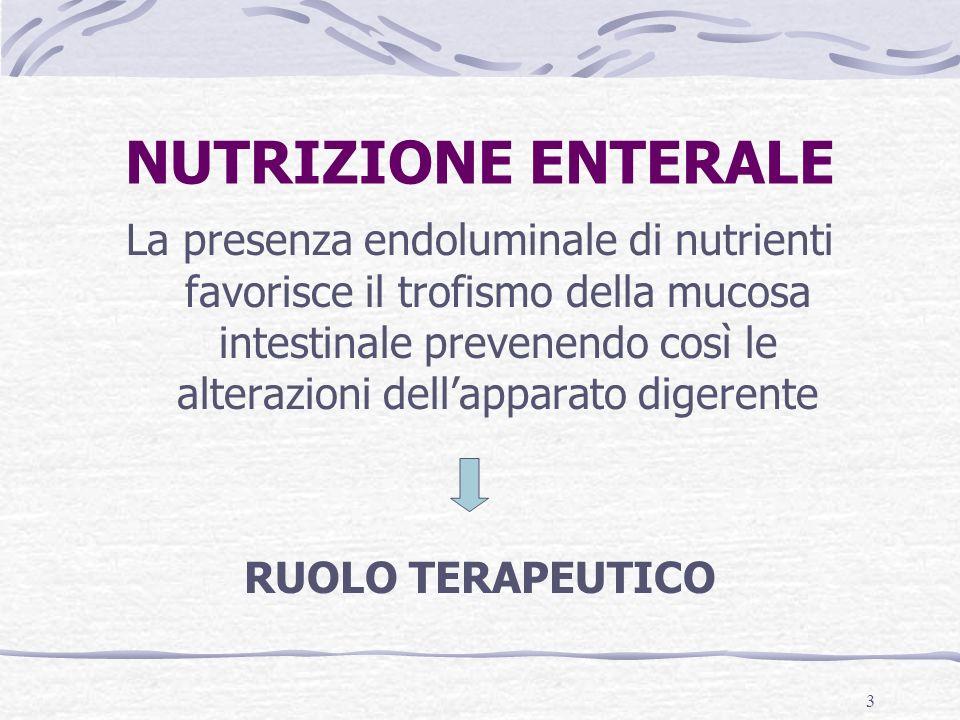 3 NUTRIZIONE ENTERALE La presenza endoluminale di nutrienti favorisce il trofismo della mucosa intestinale prevenendo così le alterazioni dellapparato digerente RUOLO TERAPEUTICO