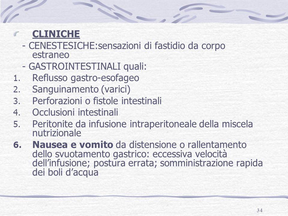 34 CLINICHE - CENESTESICHE:sensazioni di fastidio da corpo estraneo - GASTROINTESTINALI quali: 1. Reflusso gastro-esofageo 2. Sanguinamento (varici) 3