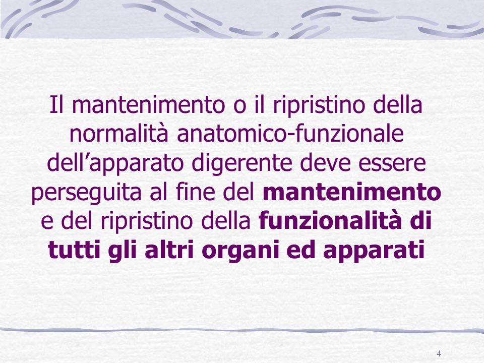 4 Il mantenimento o il ripristino della normalità anatomico-funzionale dellapparato digerente deve essere perseguita al fine del mantenimento e del ripristino della funzionalità di tutti gli altri organi ed apparati
