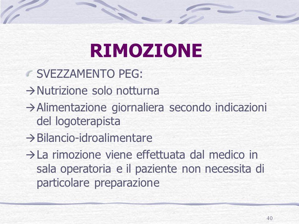 40 RIMOZIONE SVEZZAMENTO PEG: Nutrizione solo notturna Alimentazione giornaliera secondo indicazioni del logoterapista Bilancio-idroalimentare La rimo