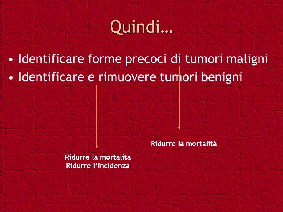Quindi… Identificare forme precoci di tumori maligni Identificare e rimuovere tumori benigni Ridurre la mortalità Ridurre lincidenza