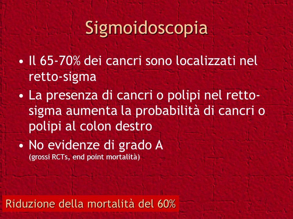 Sigmoidoscopia Il 65-70% dei cancri sono localizzati nel retto-sigma La presenza di cancri o polipi nel retto- sigma aumenta la probabilità di cancri