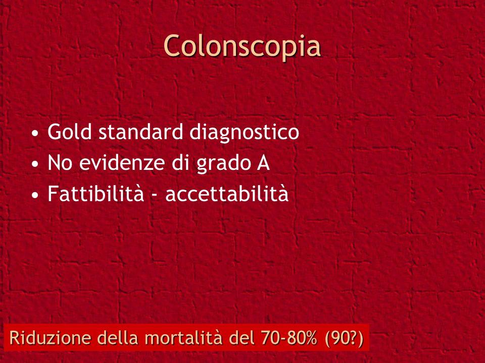Colonscopia Gold standard diagnostico No evidenze di grado A Fattibilità - accettabilità Riduzione della mortalità del 70-80% (90?)
