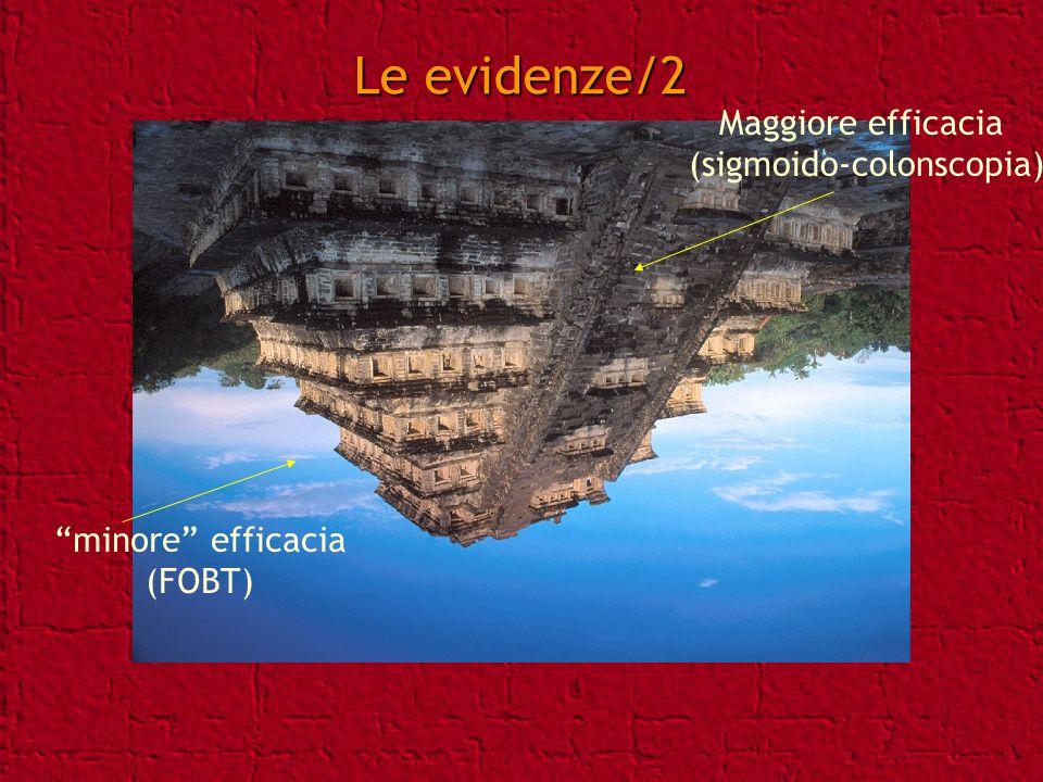 Le evidenze/2 minore efficacia (FOBT) Maggiore efficacia (sigmoido-colonscopia)