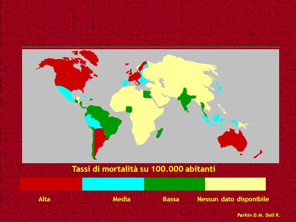Tassi di mortalità su 100.000 abitanti Alta Media Bassa Nessun dato disponibile Parkin D.M. Doll R.