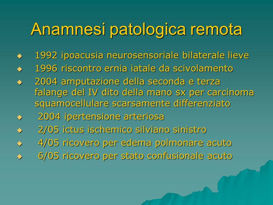 Anamnesi patologica remota 1992 ipoacusia neurosensoriale bilaterale lieve 1992 ipoacusia neurosensoriale bilaterale lieve 1996 riscontro ernia iatale